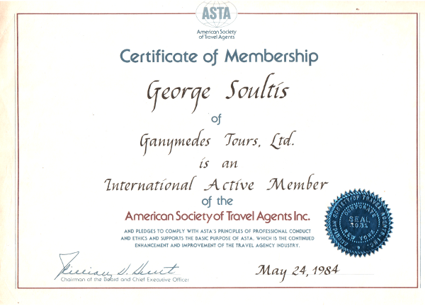 ASTA International Certificate